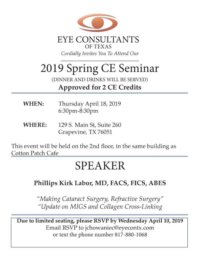 Eye Consultants of Texas Spring 2019 CE Seminar
